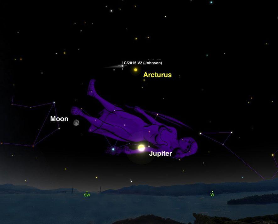 L'étoile Arcturus fera office de guide utile pour repérer la comète Johnson.