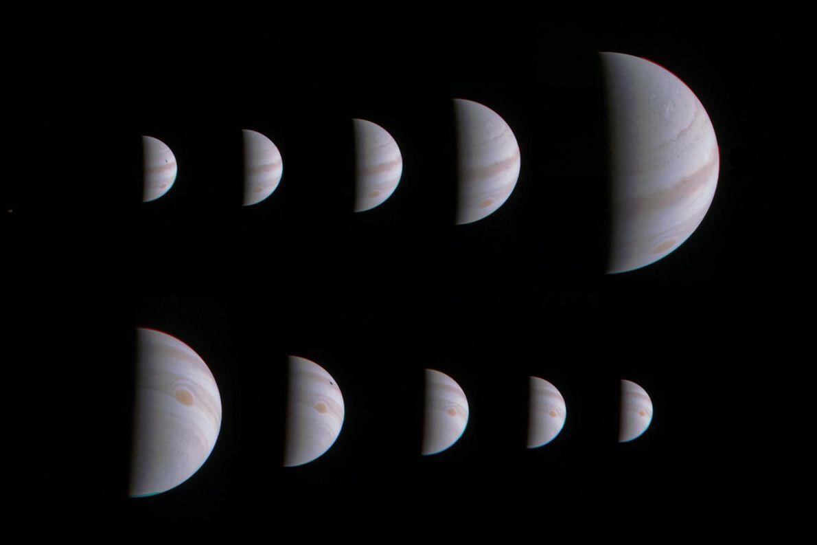 Ce montage composé de 10 images montre une Jupiter croissante puis décroissante, avant et après l'approche ...
