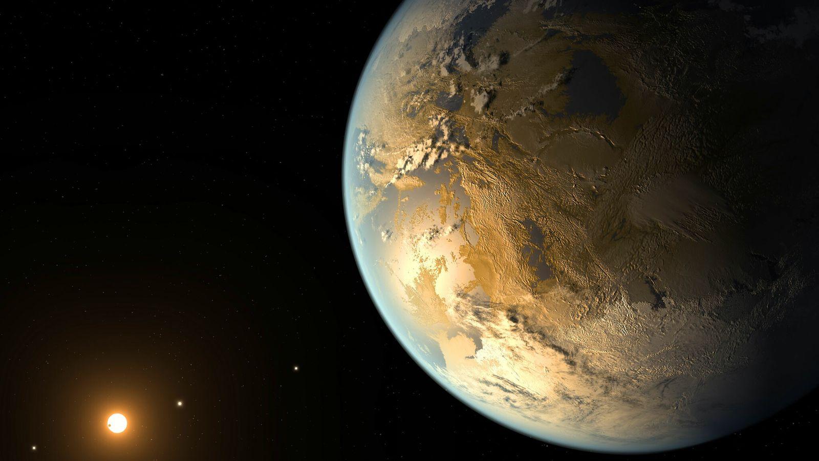 Cette vue d'artiste représente Kepler-186f, la première planète de dimension terrestre confirmée, orbitant autour d'une lointaine ...