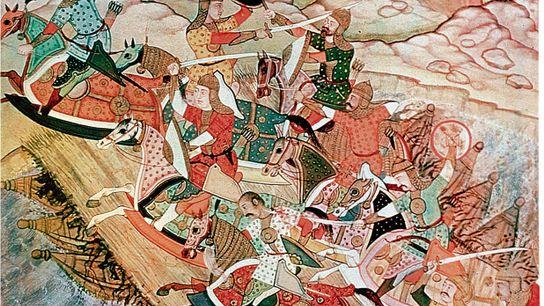 Les troupes de Kubilai traversent un pont flottant pour assiéger la forteresse O-Chou des Song du ...