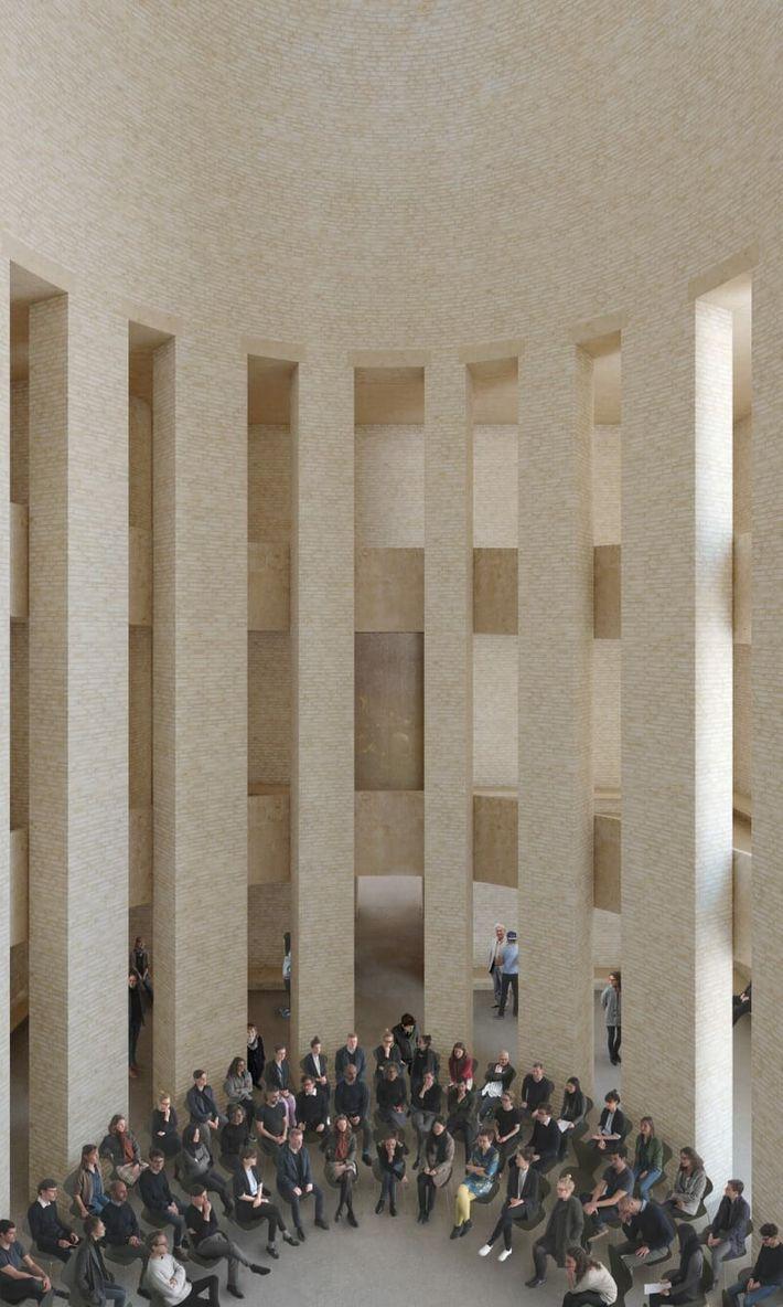 Au centre de l'édifice, les fidèles des trois religions pourront se réunir et échanger dans une ...