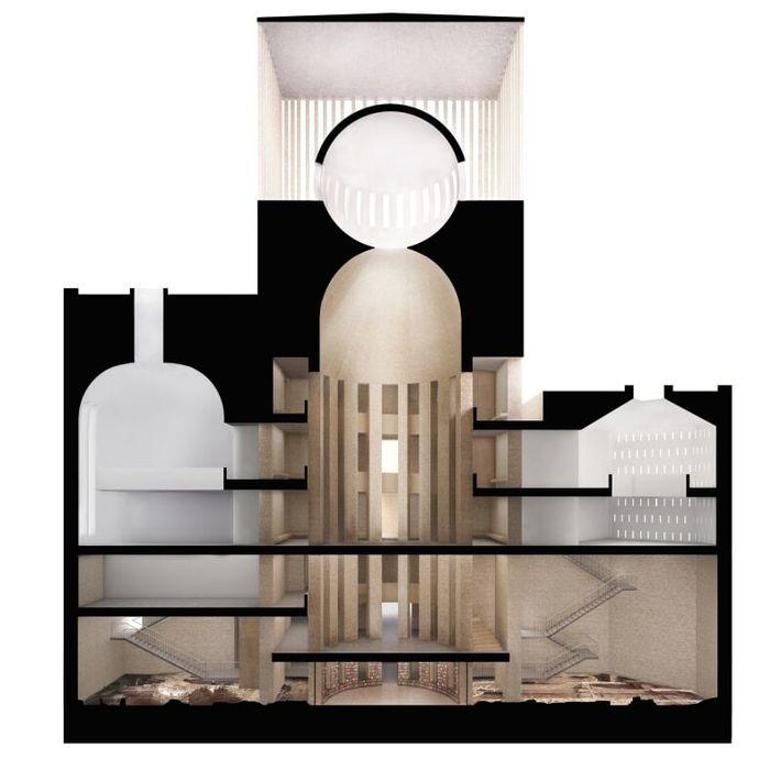 L'édifice mêle une église rectangulaire, une synagogue hexagonale, une mosquée carrée et une salle de rencontre ...