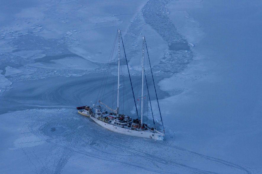 """""""Après un an de navigation et de plongées au large des côtes groenlandaises, nous avons volontairement …"""