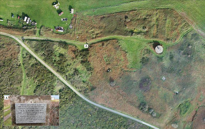 La photogrammétrie aérienne du camp de concentration de Sylt prise en 2017 révèle combien peu d'éléments ...