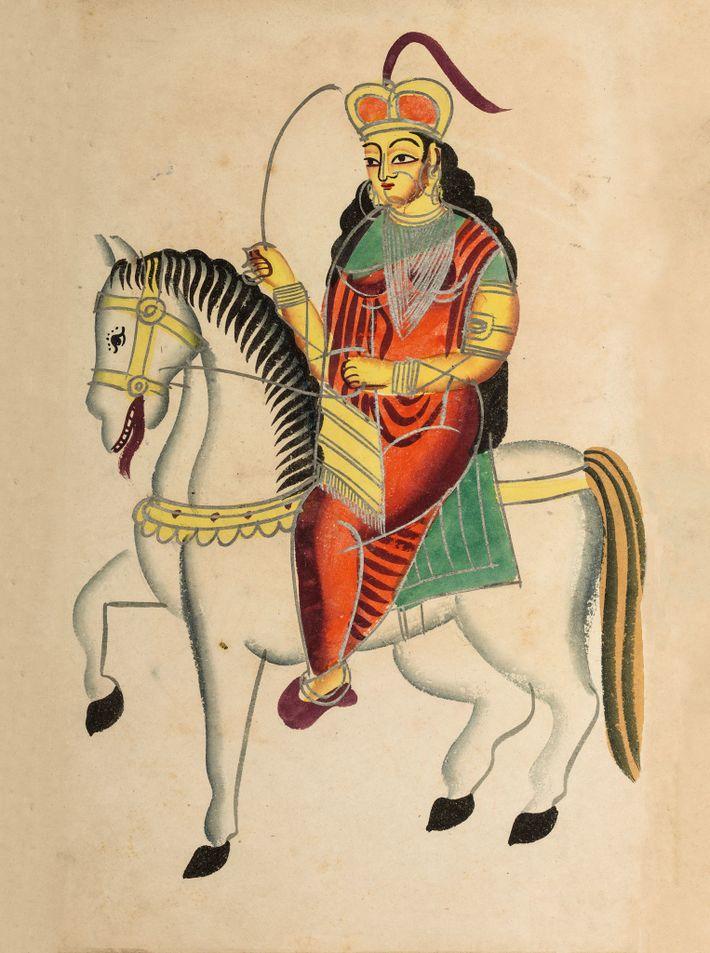 Lakshmi Bai, Queen of Jhansi, on horseback. 19th-century color engraving, Kolkata