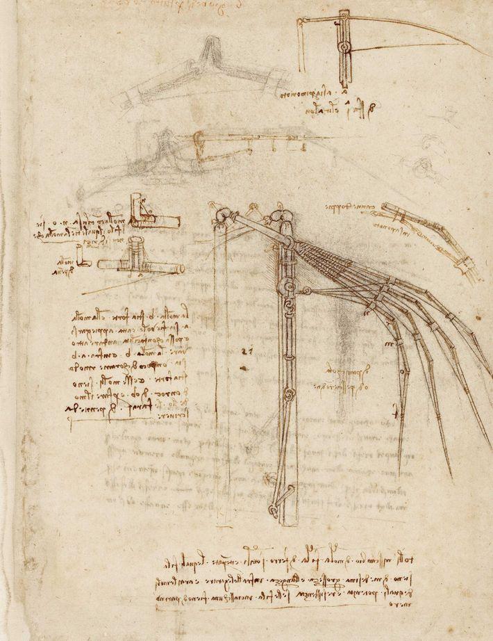 Sur une page du Codex Atlanticus, l'un de ses carnets de travail, il esquisse une aile ...