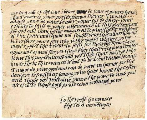 Qui a écrit ces lignes hâtives à son compatriote lord Monteagle, l'avertissant du complot ? La ...