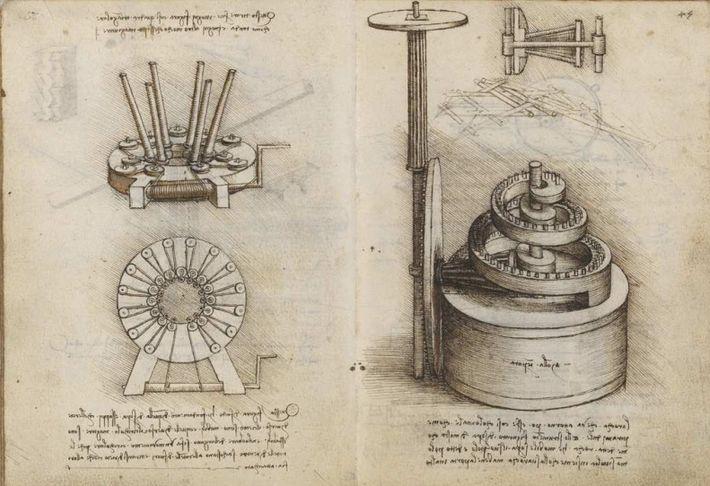 Système de traction et ressort, dessin à l'encre sur velin, 1490-1499.