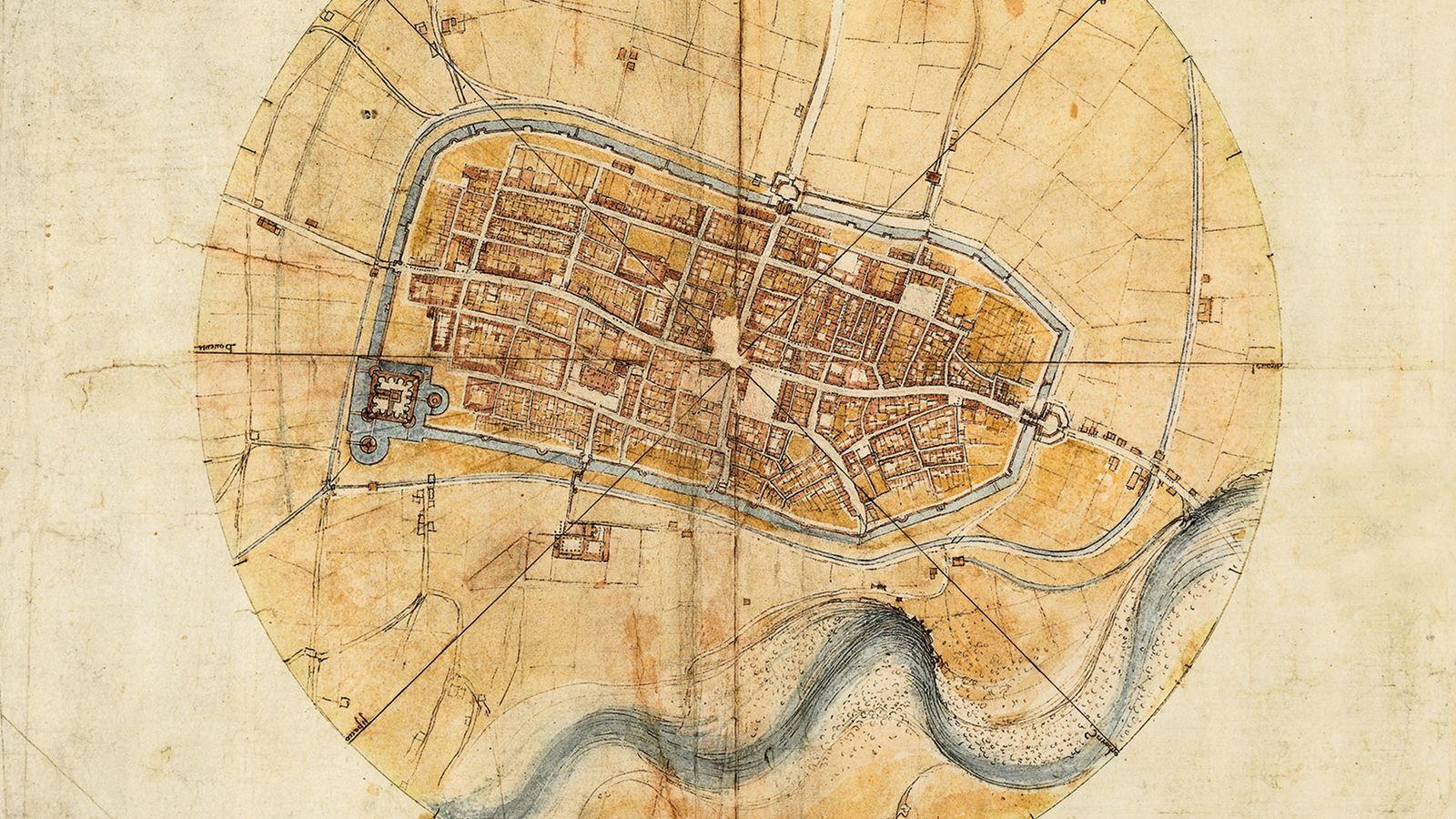Le«Plan de la ville d'Imola » est conservé aujourd'hui au Musée Léonard de Vinci, à Vinci,la ...