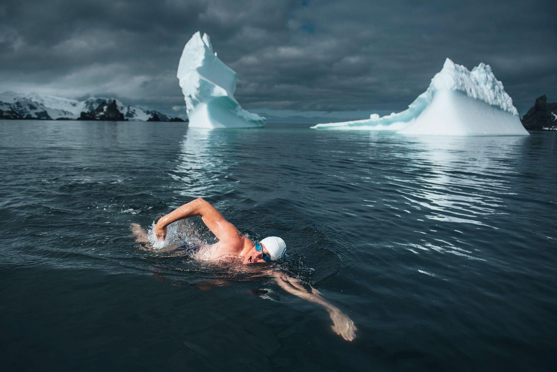 Lewis Pugh nageant à côté des icebergs dans l'eau glacée de l'Antarctique.