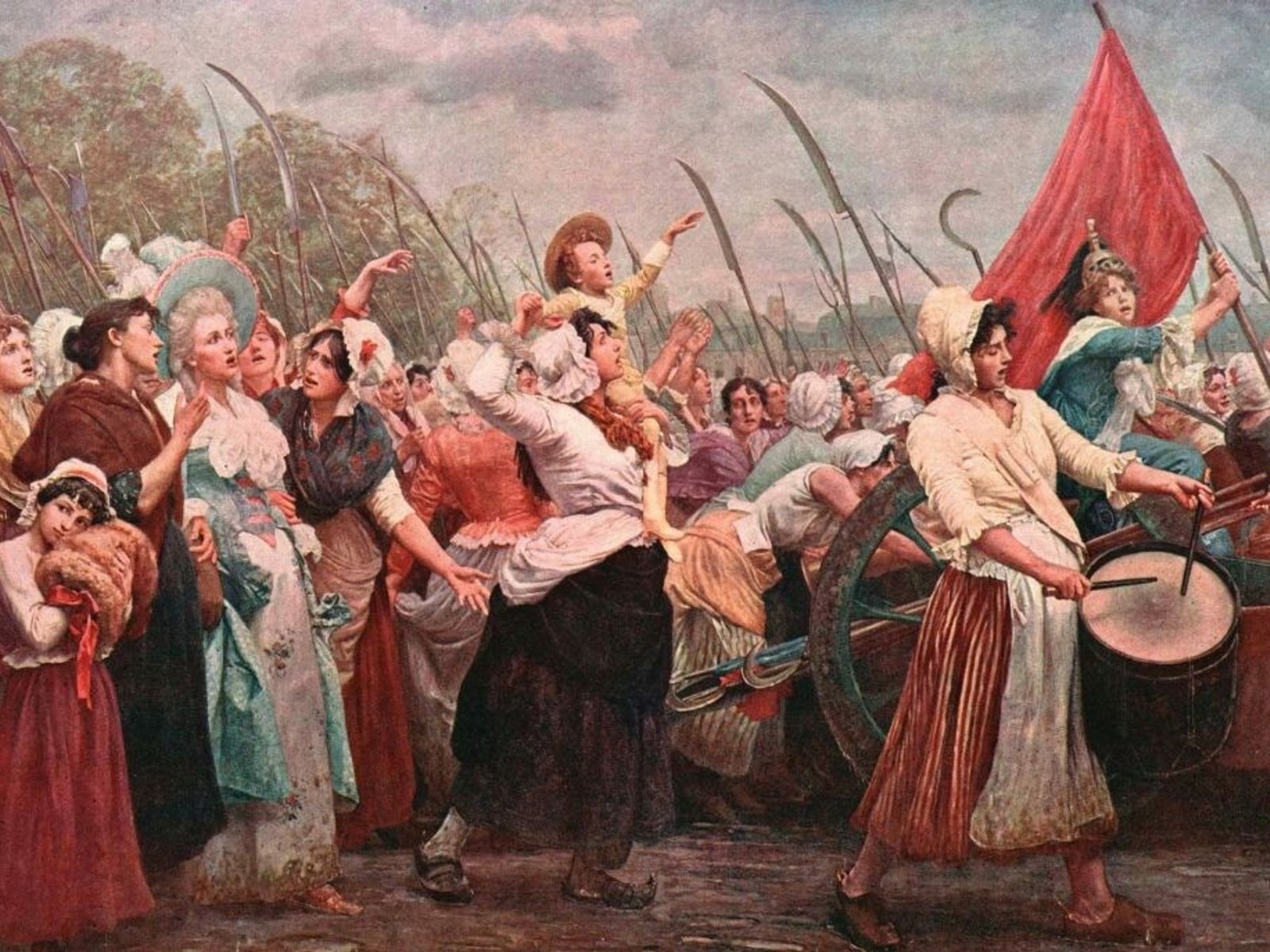 Femmes marchant vers Versailles.