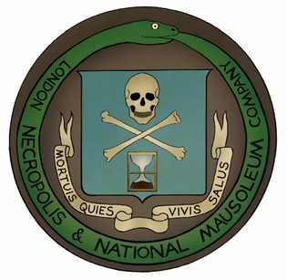 Le sceau de la London Necropolis Company, qui avait pour devise « Une mort paisible, une vie heureuse ».