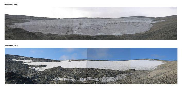 La plaque de glace de Lendbreen fond rapidement, comme le montrent les photos prises en 2006 ...