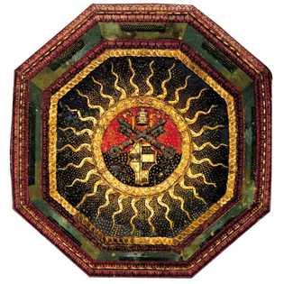 Le blason des Borgia véhicule l'idée de pouvoir associée à la famille de Lucrèce.