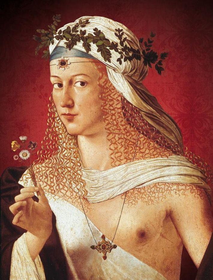 Peint par Bartolomeo Veneto en 1515, ce portrait sophistiqué qui représenterait Lucrèce Borgia est aux antipodes ...