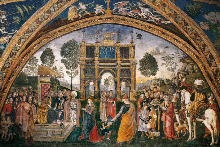 Sur la fresque intitulée « St. Catherine's Disputation », peinte en 1492 par Il Pinturicchio et ...