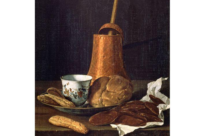 Cette nature morte de Luis Meléndez, datant du 18e siècle, représente un pot en cuivre rempli ...