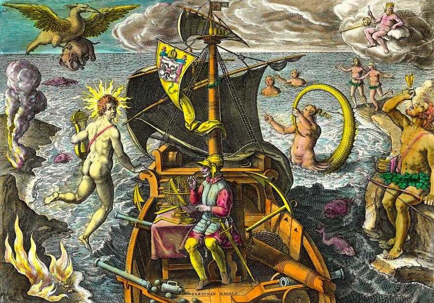 Cette gravure du 16e siècle représente Magellan entouré de créatures mythologiques et d'animaux fantastiques qui témoignent ...