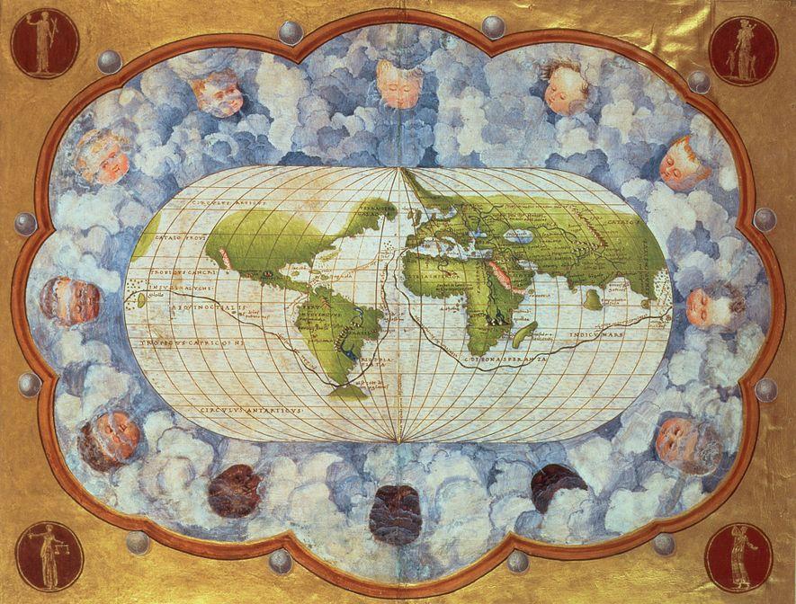 Cette carte de 1545 retrace l'itinéraire de Magellan autour du monde, une véritable pierre angulaire du ...