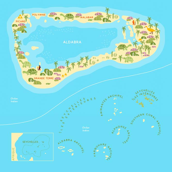Aldabra est la plus grande des îles extérieures des Seychelles.