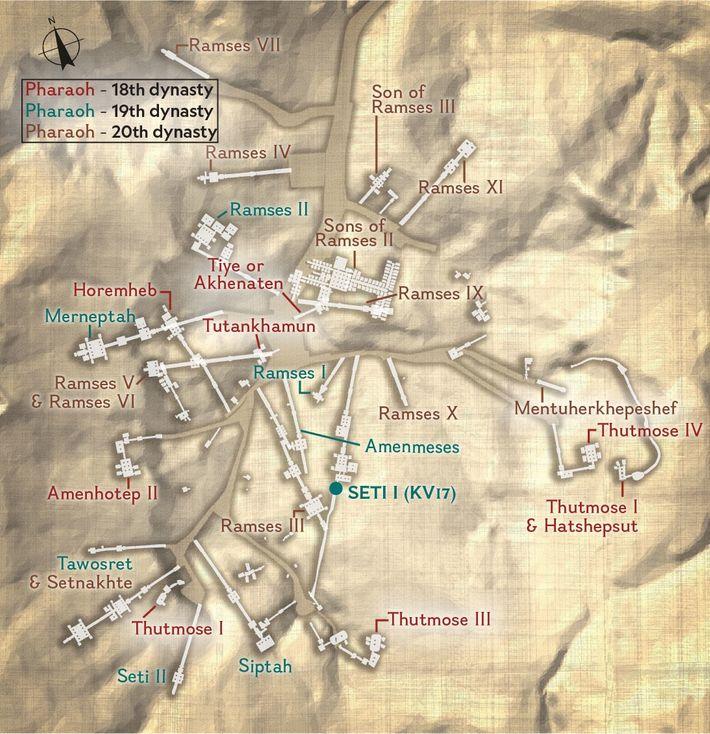 Dans la vallée des rois, le tombeau le plus célèbre, celui de Toutânkhamon, se situe entre ...