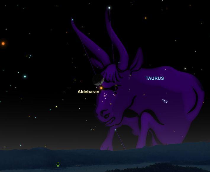 """Cherchez le croissant de lune près de l""""oeil"""" du Taureau le 22 mars."""