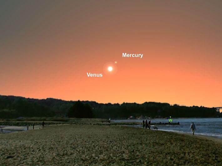 Vénus et Mercure sembleront s'être rapprochées dans le ciel du 3 mars.