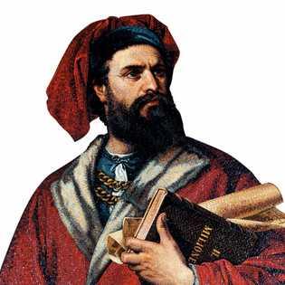 Mosaïque représentant l'explorateur vénitien Marco Polo (1254-1324) au Palazzo Tursi, à Genève, en Italie.