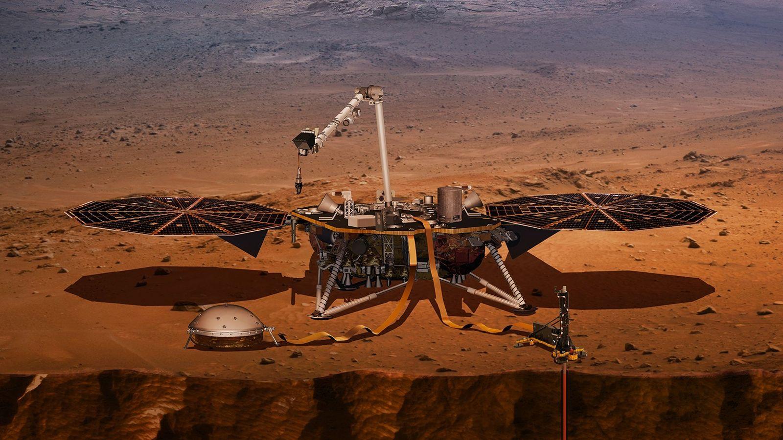 Vue d'artiste de l'atterrisseur InSight de la NASA sur Mars. L'agence spatiale a annoncé que l'atterrisseur ...