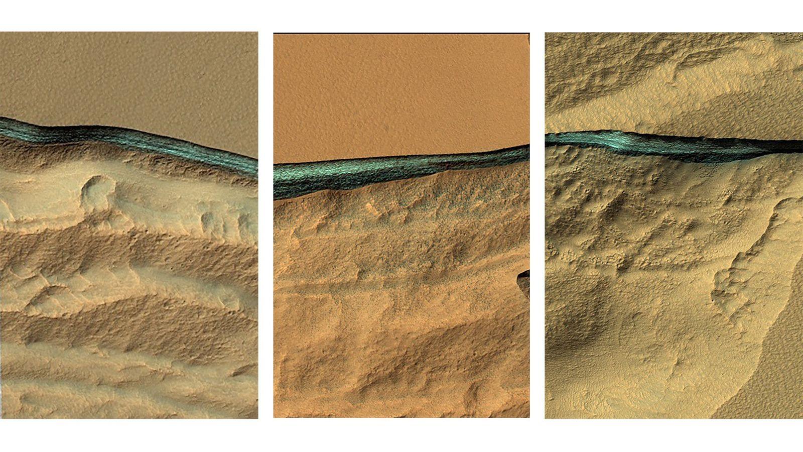 Des pans érodés de la surface de Mars en moyenne latitude révèlent des pans d'eau glacée ...
