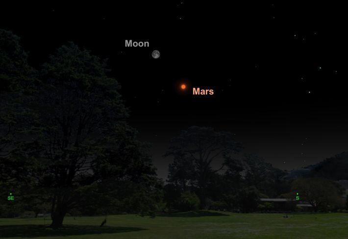 Seuls cinq degrés sépareront la pleine lune de Mars le 27 juillet.