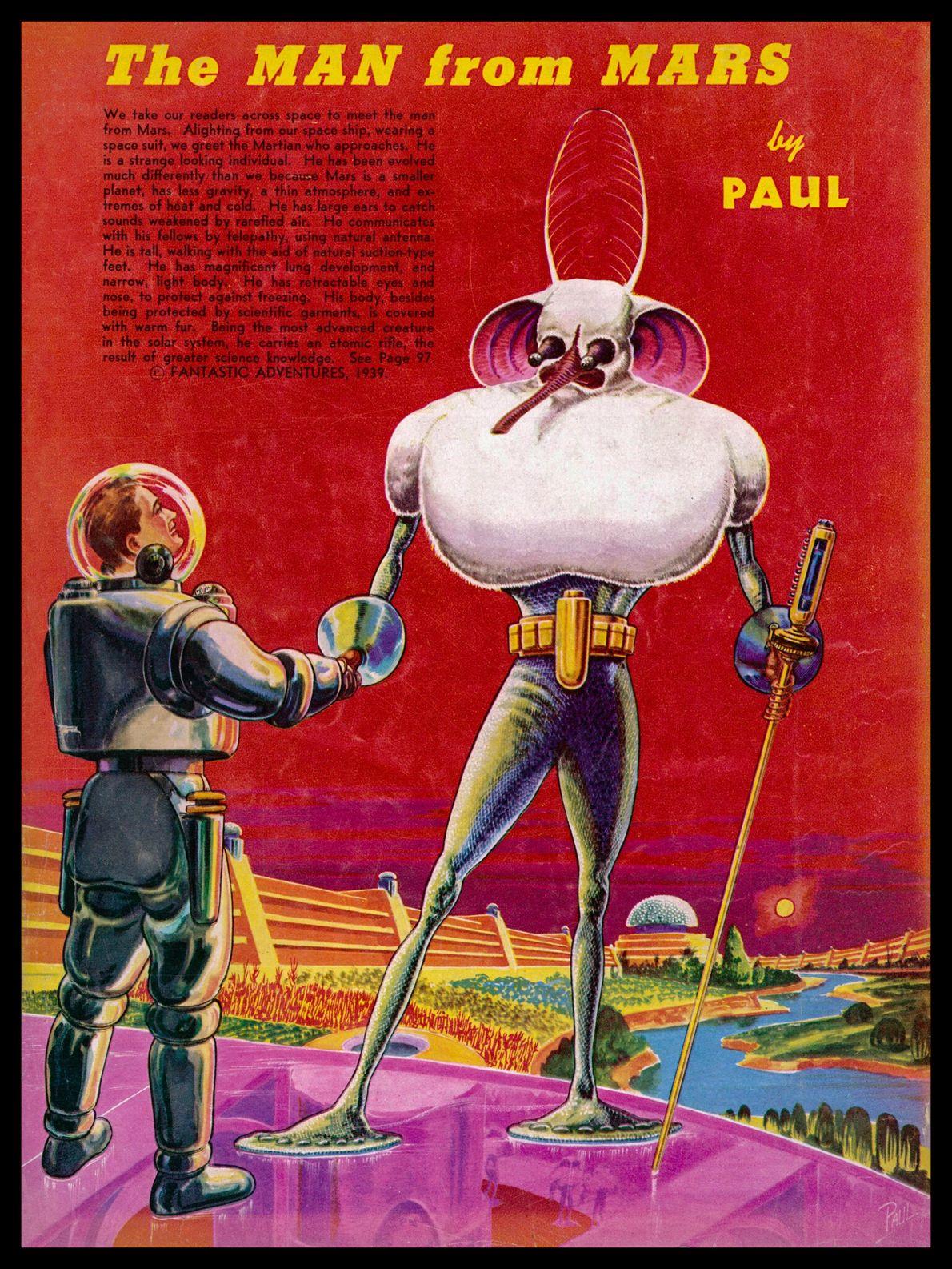 1939 : « L'homme qui vient de Mars »  Dessiné par Frank R. Paul pour le magazine Fantastic Adventures, ce Martien est un ...