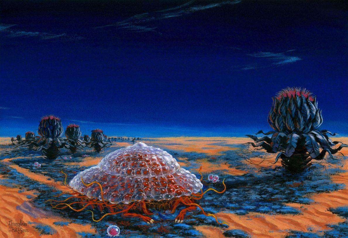 1967 : la vision de Sagan  Pour National Geographic, Carl Sagan a imaginé des Martiens à l'épreuve des rayonnements, protégés ...