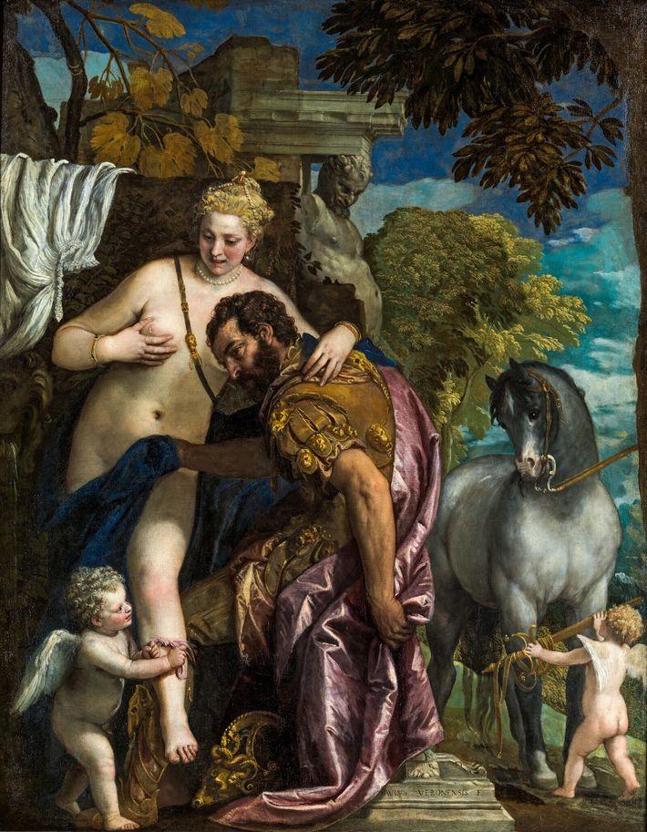 Années 1570 : « Mars et Vénus liés par l'amour »  L'union de deux divinités que tout oppose : dans ce tableau ...