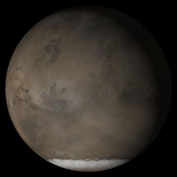 Cette image en couleur composée de Mars transmise par la sonde Mars Global Surveyor de la ...