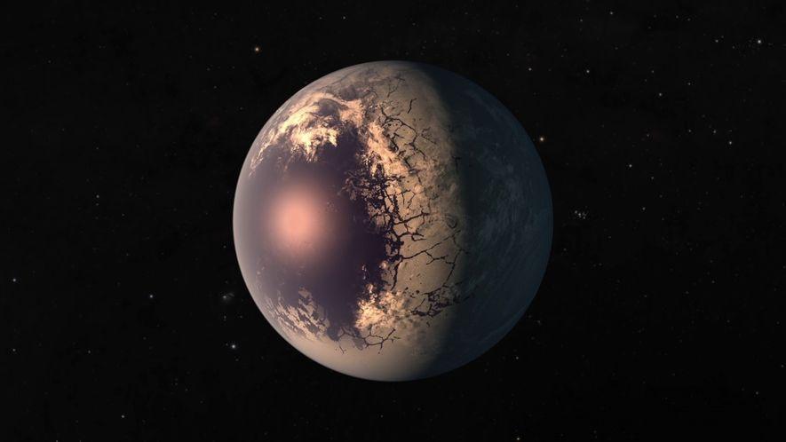 Illustration d'une des exo-planètes du système TRAPPIST-1, d'une taille similaire à la Terre.