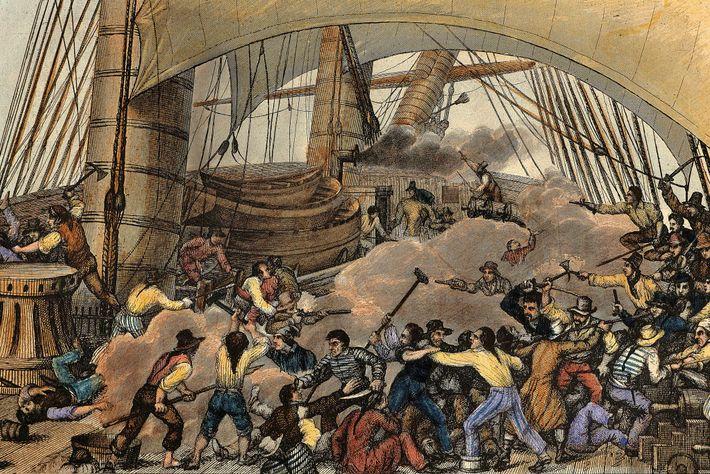 Un navire marchand est attaquépar des pirates dans cette gravure du 19e siècle.