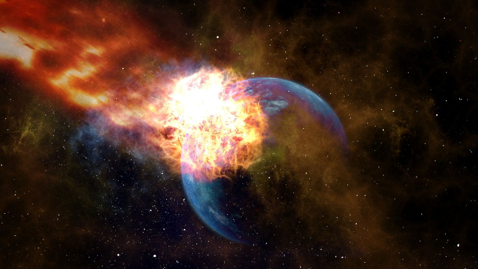 Vue d'artiste d'un impact d'astéroïde sur Terre.