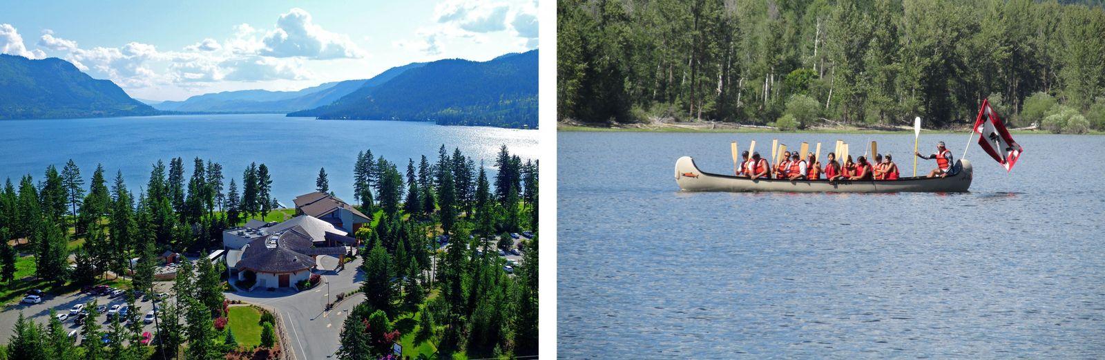 GAUCHE: À l'hôtel Quaaout Lodge and Spa, sur les rives du lac Shuswap, les visiteurs vivent ...