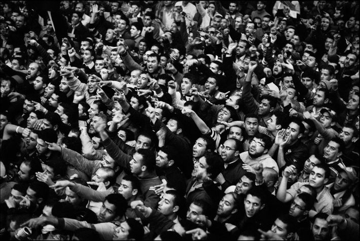 Des partisans des Frères musulmans bloquent l'accès au parlement. Le Caire, Egypte. Janvier 2012