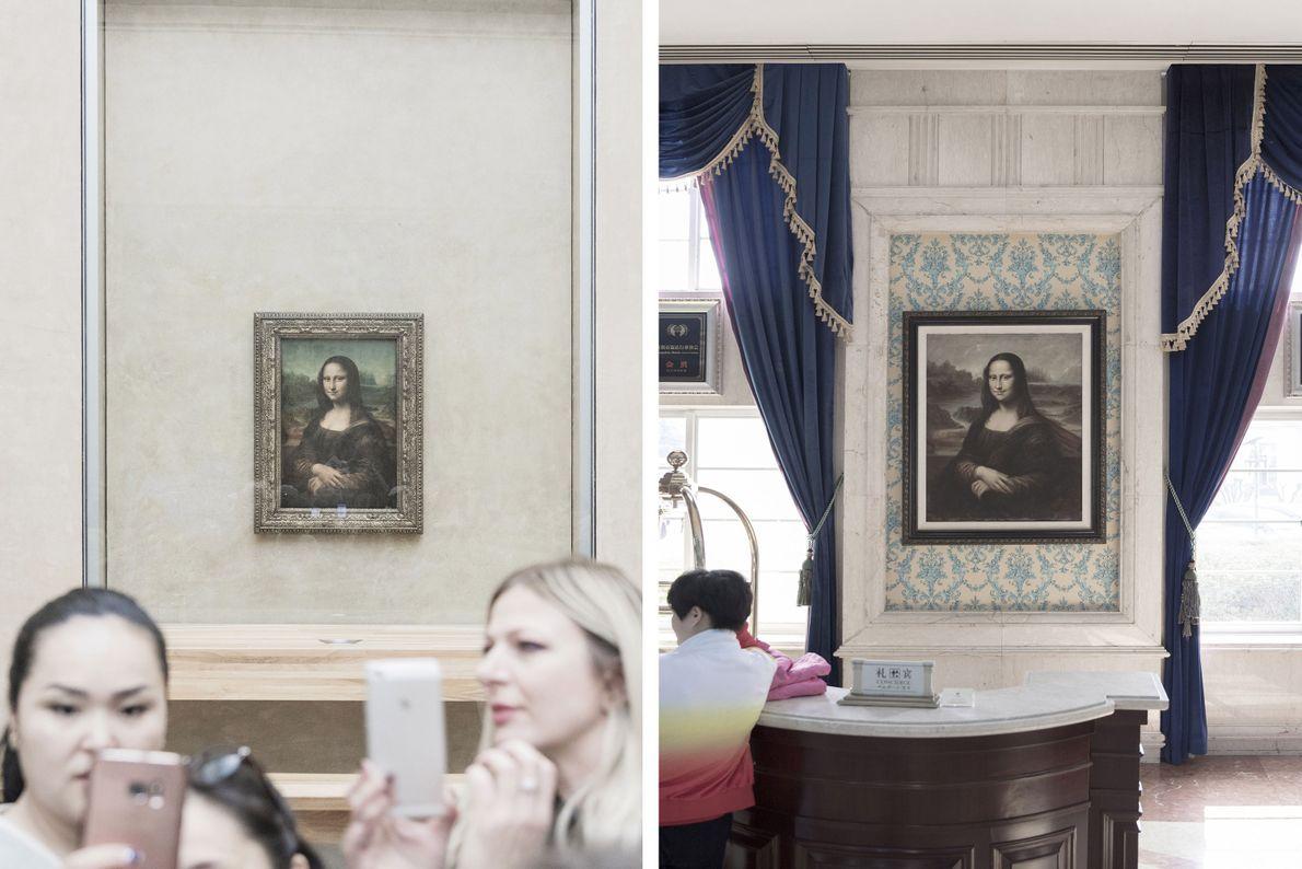 Des répliques de la Joconde, exposée au Louvre à Paris (à gauche) existent dans le monde ...