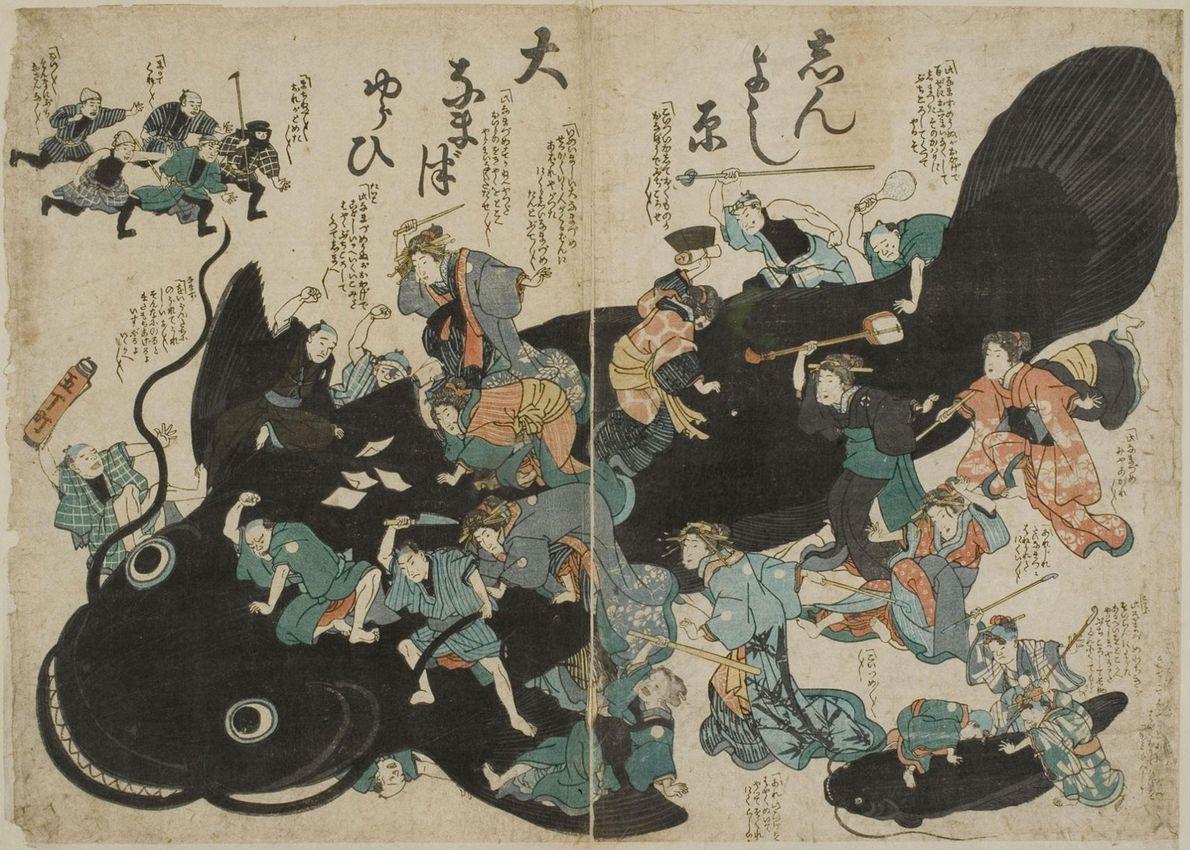 Selon une légende japonaise, un poisson-chat géant nommé Namazu vivrait sous le Japon, tenu hors d'état ...