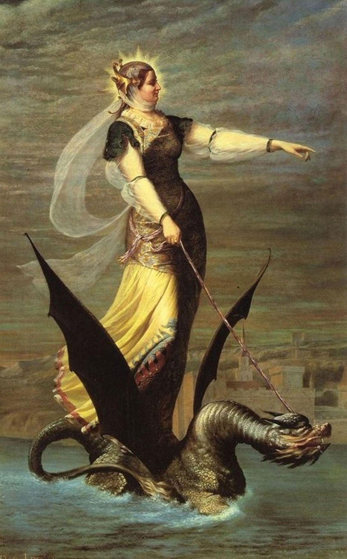 Avec sa tête de lion, sa queue de serpent se terminant par un dard de scorpion ...