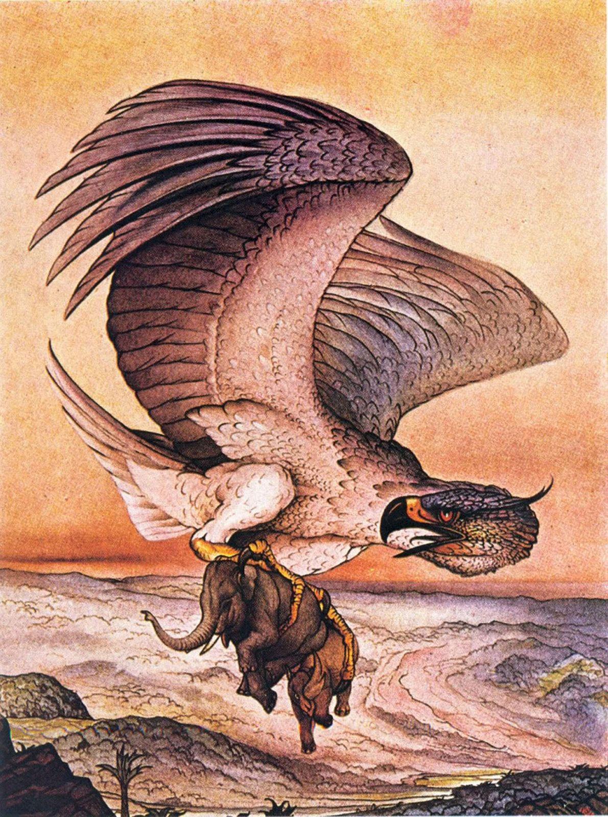 Dans la légende arabe de Sinbad le marin, un oiseau appelé appelé Roc arrache un éléphant ...