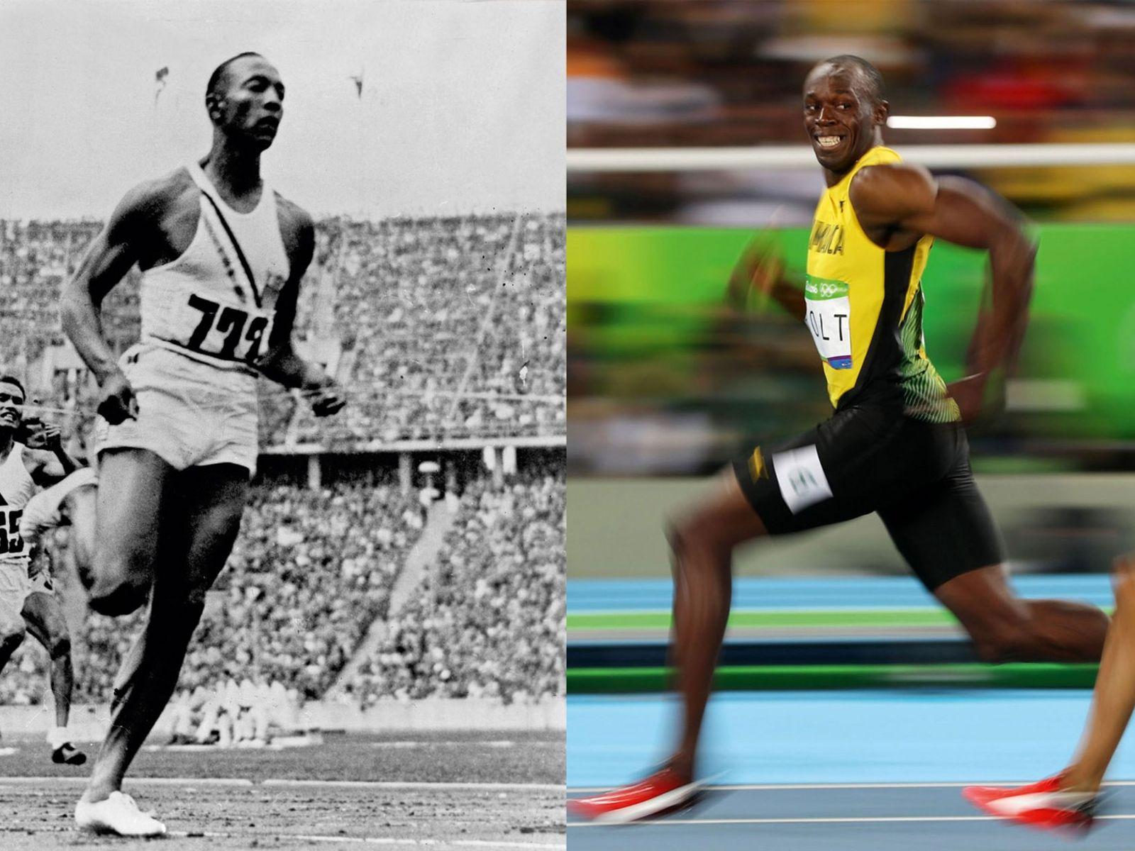 Jesse Owens (à gauche) remporta le 100 m en 10,3 s lors des JO de 1936. ...