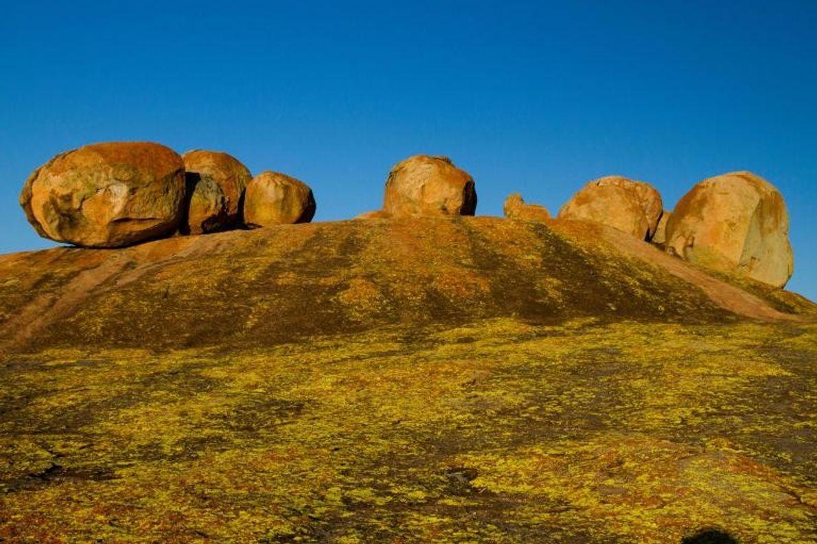 Des formations rocheuses en granite ponctuent le paysage du sud de Zimbabwe. Sur les collines de ...