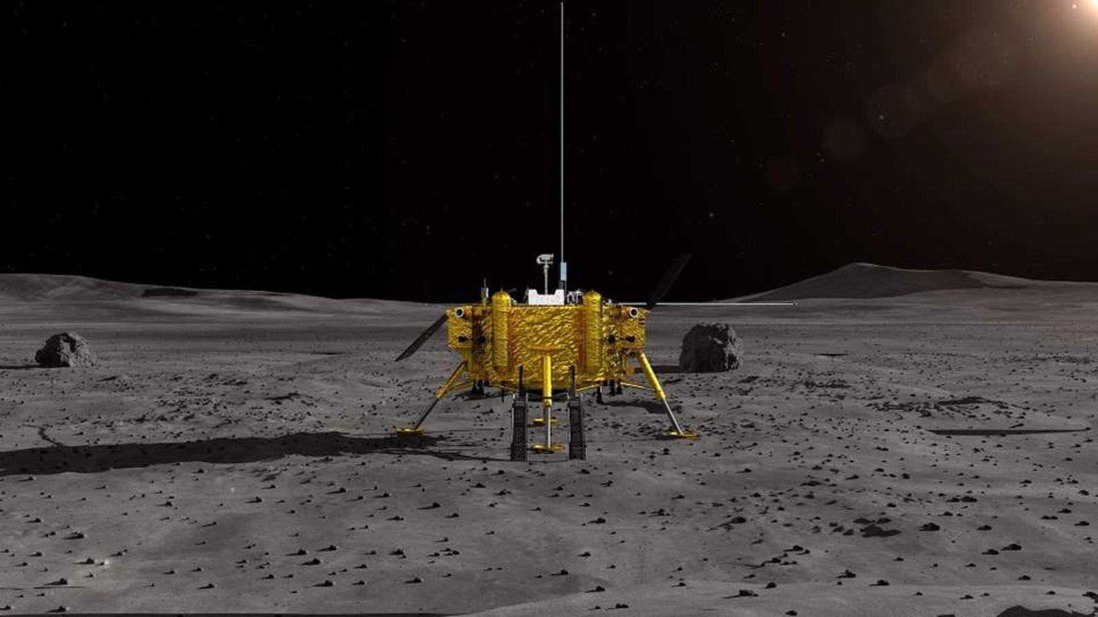 Vue d'artiste de l'Administration spatiale nationale chinoise (CNSA) montrant la sonde lunaire chinoise Chang'e-4. Le vaisseau ...