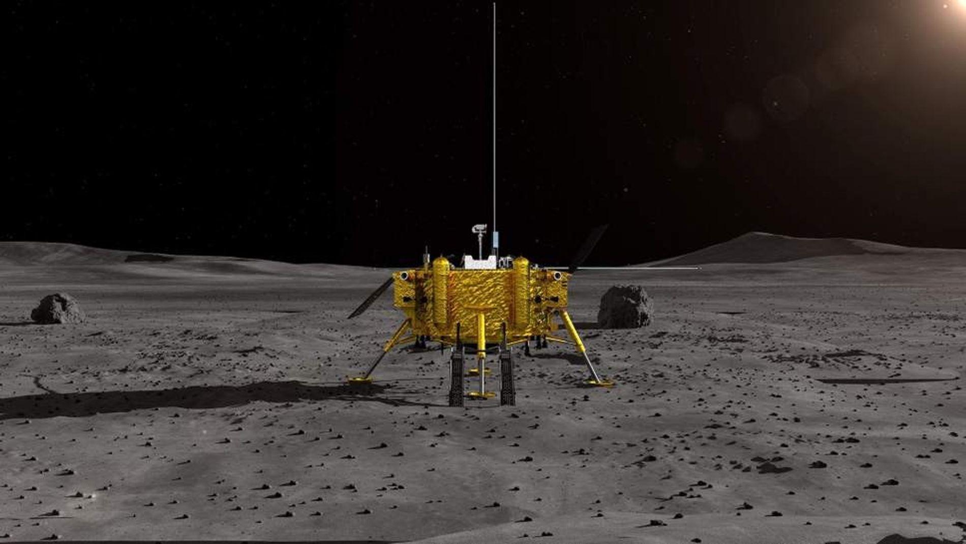 Vue d'artiste de l'Administration spatiale nationale chinoise (CNSA) montrant la sonde lunaire chinoise Chang'e-4. Le vaisseau spatial est le premier à se poser sans encombre de l'autre côté de la Lune.
