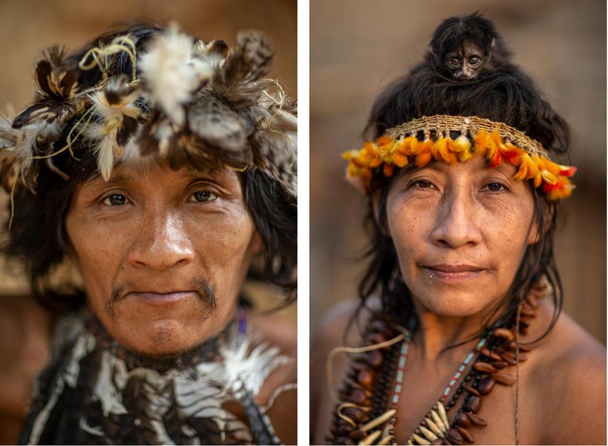 À gauche : Takapen est un Awá contacté pour la première fois dans les années 1990 ...