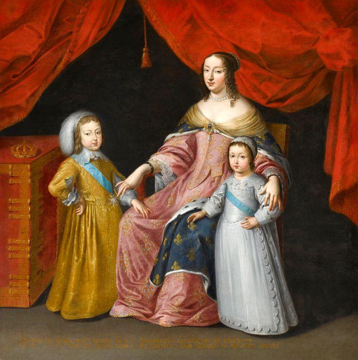 Anne d'Autriche et ses deux enfants, le futur Louis XIV, et Philippe, duc d'Orléans. Peintre anonyme.